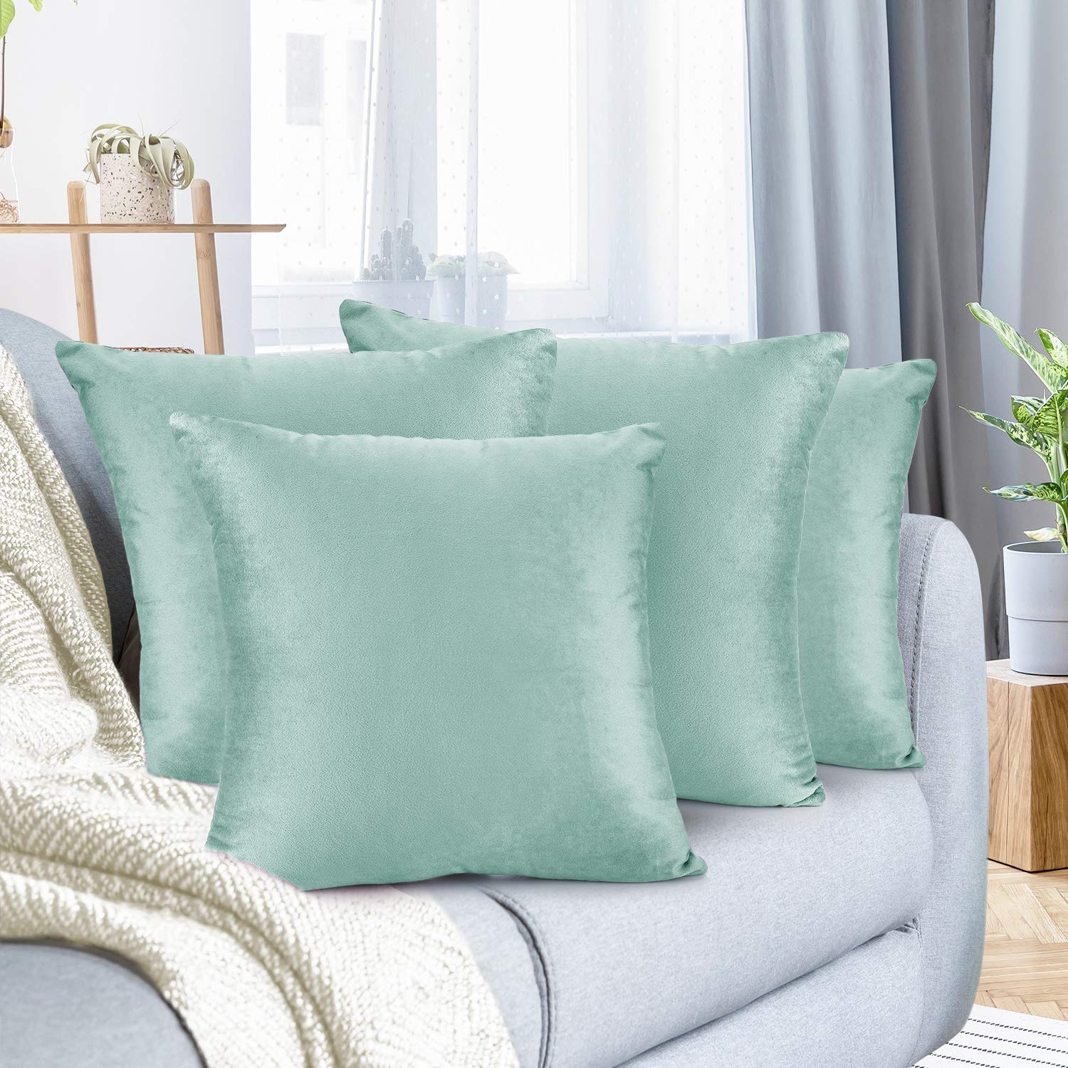 """Nestl Bedding Throw Pillow Cover 26"""" x 26"""" Soft Square Decorative Throw Pillow Covers Cozy Velvet Cushion Case for Sofa Couch Bedroom, Set of 4, Mint"""