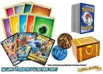 150 Random Pokemon Card Lot! 100 Pokemon Cards - Sword & Shield V Ultra Rare & Foils - 50 Energy Cards - Pokemon Coin! Includes a Golden Groundhog Treasure Chest Box!