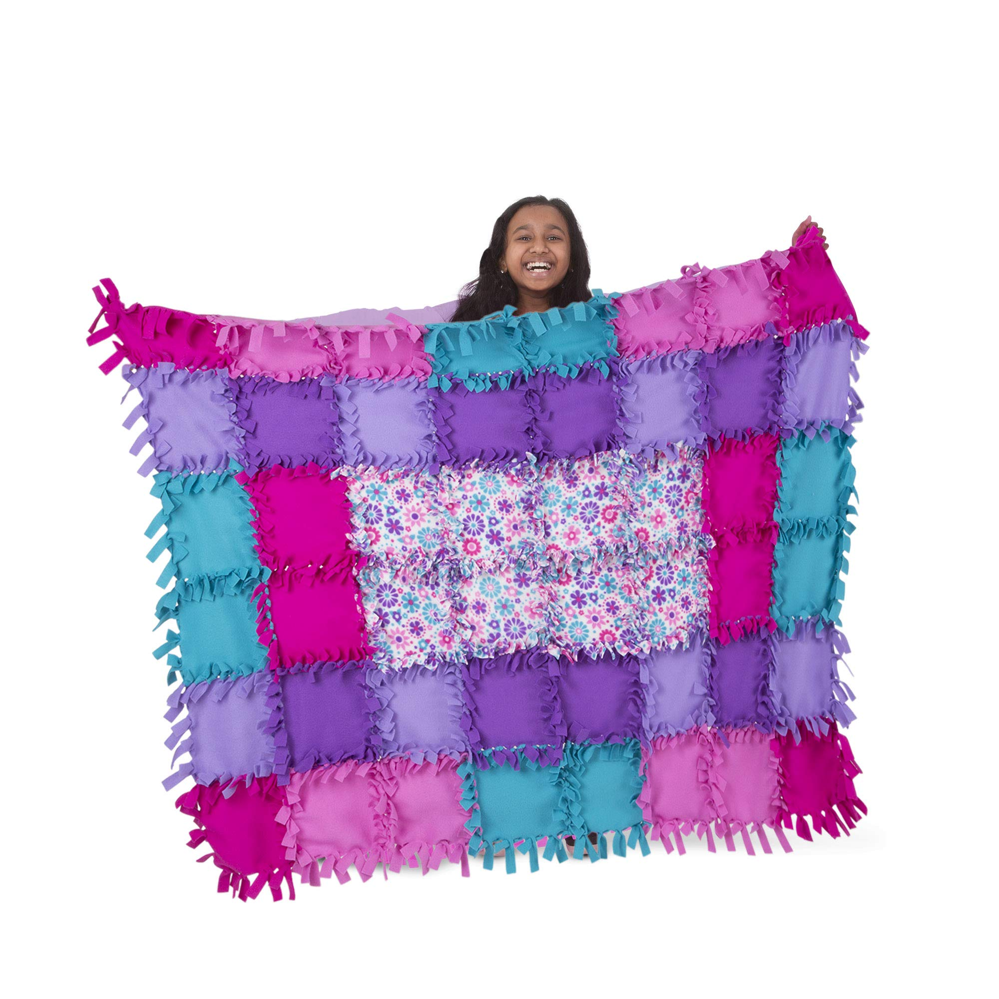Melissa & Doug Created by Me! Flower Fleece Quilt - The Original (No-Sew Fleece Quilt, Soft Material, 48 Pieces, 5′W × 4′L, Great Gift for Girls & Boys - Best for 6, 7, 8 Year Olds & Up)