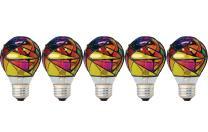 GE Incandescent Stained Glass Light Bulbs, A19 Light Bulbs, 25-Watt, Medium Base, 5-Pack, Party Lights, Decorative Colored Light Bulbs
