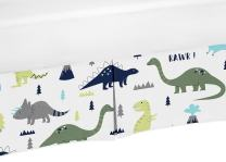 Crib Bed Skirt Dust Ruffle for Blue and Green Modern Dinosaur Baby Boys or Girls Bedding Sets