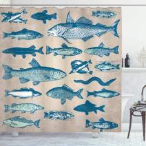 "Ambesonne Fish Shower Curtain, Vintage Style Group of Various Different Fish Animals Seafood Theme Grunge Effect, Cloth Fabric Bathroom Decor Set with Hooks, 84"" Long Extra, Taupe Navy"