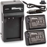 Ultimaxx Rapid Travel Charger & 2x FW50 Battery (1500mAh) for Sony Alpha a3000, a5000, a5100, a6000, a6500, a7, a7R, a7S, DSC-RX10, ILCE-QX1, NEX-3, NEX-3N, NEX-5, NEX-5N, NEX-5R, NEX-5T, NEX-6, NEX-7