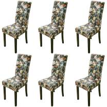 Argstar 6 Pack Dining Chair Covers, Botanical Armless Chair Slipcover for Dining Room, Spandex Kitchen Parson Chair Protector Cover, Removable & Washable, Colorful Flowers