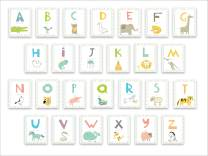 Kids Wall Art Woodland Decor, Educational Alphabet Wall Cards for Classroom, Nursery and Bedroom - Set of 26 5x7in Letter Prints