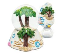 Puzzled Palm Tree Resin Stone Finish Collection Including Snow Globe, and Magnet Bottle Opener - Unique Elegant Gift and Souvenir