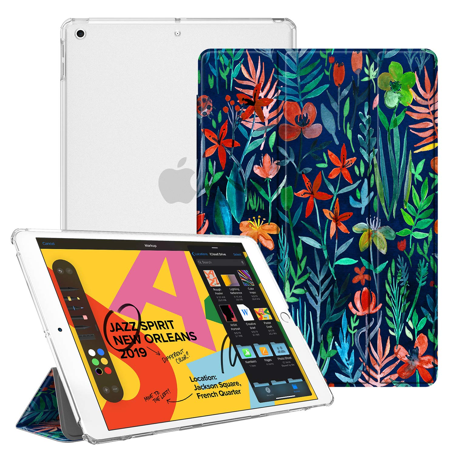 """Fintie Case for New iPad 7th Generation 10.2 Inch 2019 - Lightweight Slim Shell Stand with Translucent Frosted Back Cover Supports Auto Wake/Sleep for iPad 10.2"""" 2019 Tablet, Jungle Night"""