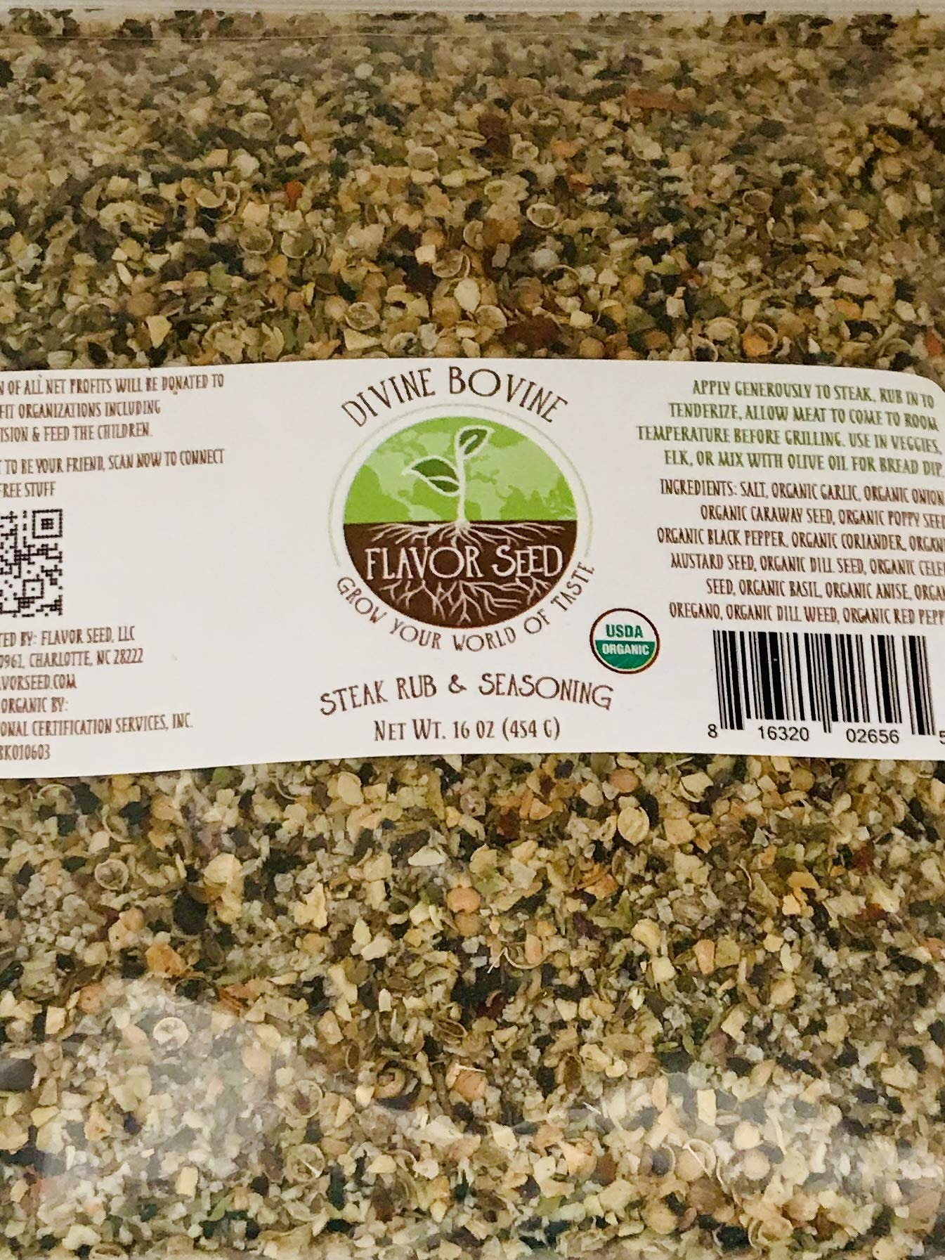 FLAVOR SEED - Divine Bovine Organic Steak Rub and Seasoning Keto, Paleo, Whole 30 approved, Non-GMO, Gluten Free Use on Steak, Chicken, Vegetables Olive Oil Dip, Montreal Steak meets Everything Bagel