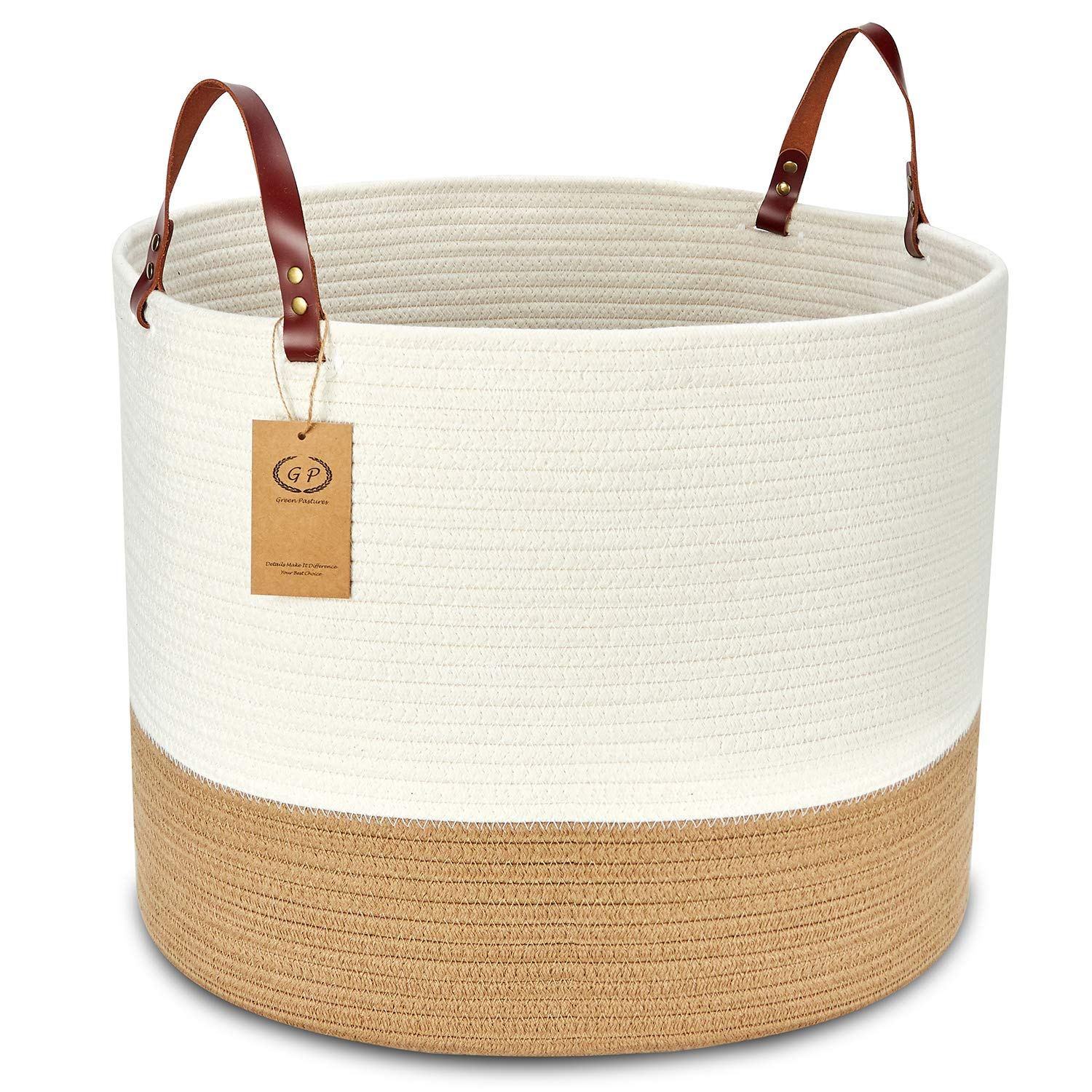 """GreenPastures XXLarge Woven Laundry Basket, 20'' x 15"""" Decorative Blanket Storage Basket with Real Leather Handles, Cotton Rope Basket Bin for Baby Kids Pets Toy (Off White/Brown/Leather Handles)"""