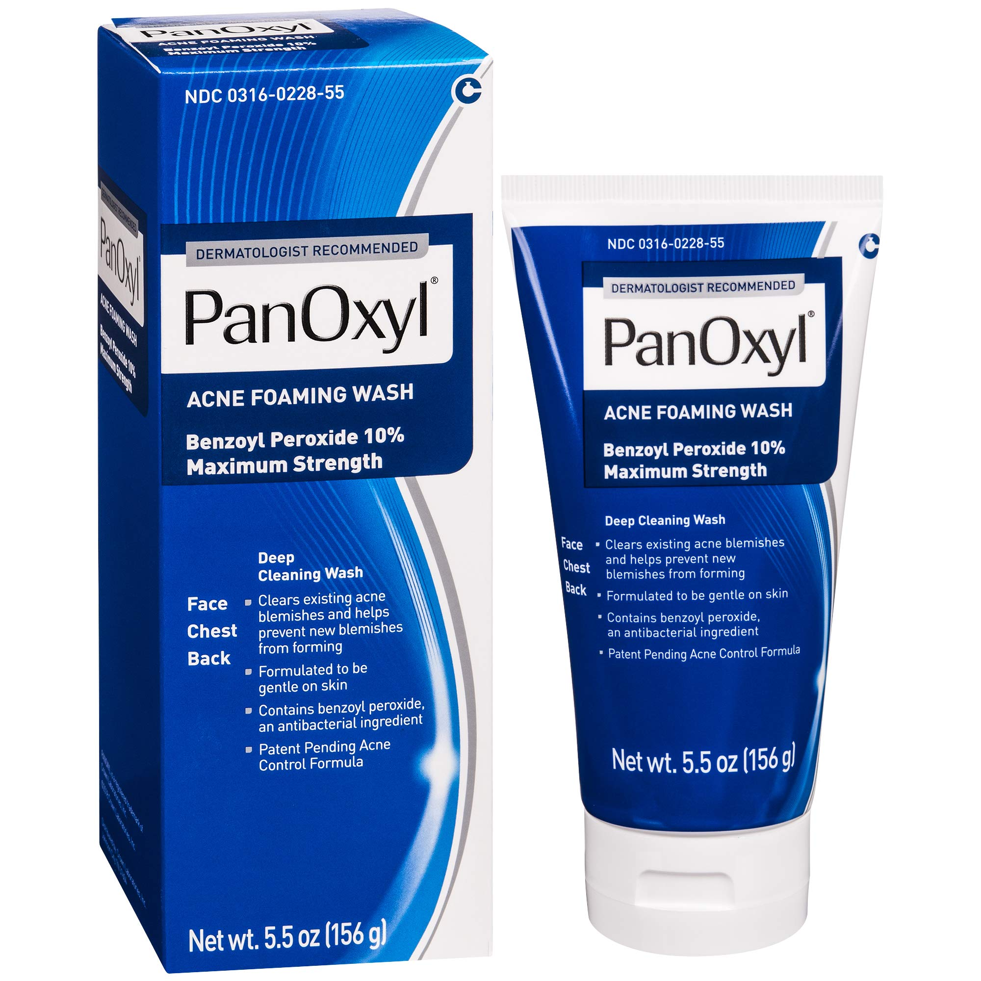 PanOxyl Acne Foaming Wash Benzoyl Peroxide 10% Maximum Strength Antimicrobial, 5.5 Ounce