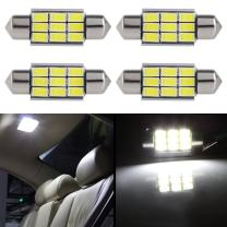 "cciyu 4 Pack White Error Free CANbus 36mm 1.50"" 9-5730-SMD 6418 C5W COB LED Bulbs DE3423 DE3425 C5W 3423 Interior Light Lamp"