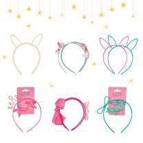 Saana Priti Hair Hoops Set Headbands for Girls 8pcs Cute Hairhoops Plastic Bow and Cat Ears Children Hair Accessories for Birthday Party Decoration Wear