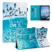 Dteck Case for All-New Amazon Fire HD 10 Tablet (7th/9th Generation, 2017/2019 Release) - Slim Fit PU Leather Folio Stand Smart Cover with Auto Wake/Sleep for Fire HD 10.1 inch, Beach