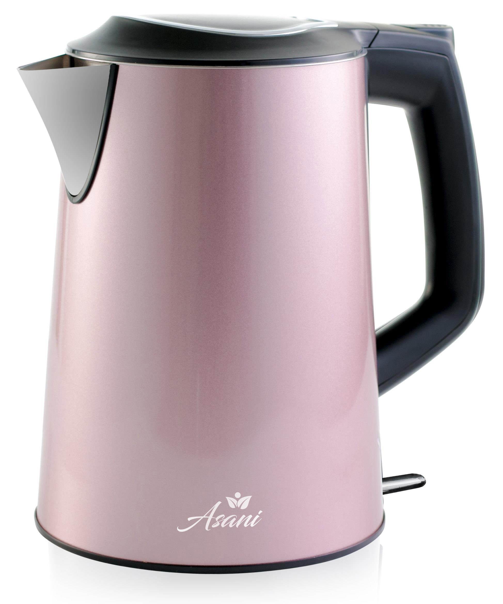 Double Wall Safe Touch Electric Kettle | Stainless Steel with 100% Plastic-Free Interior | Cordless Electronic Hot Water Heater Pot with Cool Touch, Boil Dry Protection & More (1.9 Quart/1.8L) (Pink)