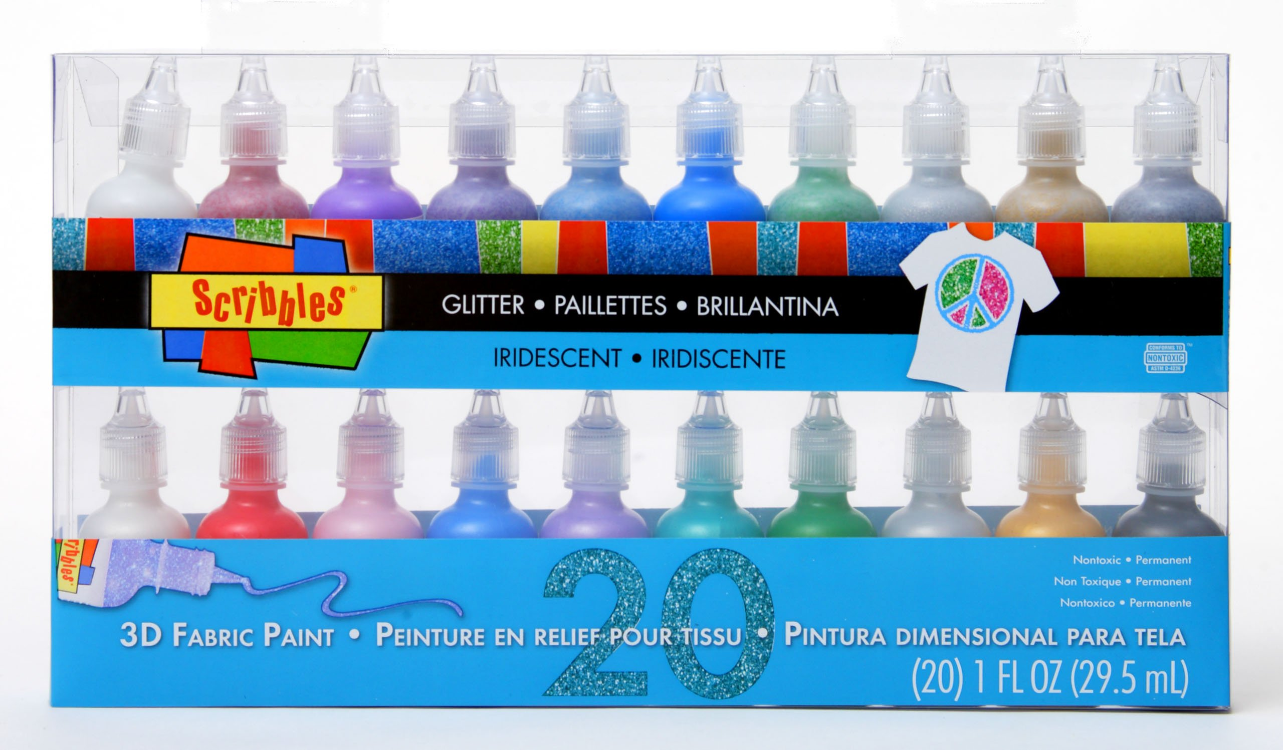 Scribbles Bulk Buy Glitter 3D Paint Glitter - Pack of 20 Glitter, Nontoxic & Permanent Dimensional Paints for Fabrics, T-Shirts, Backpacks, Posters, Glass, Wood and More