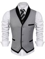 JINIDU Men's Suit Vest Slim Fit V Neck Dress Waistcoat Business Wedding Vests