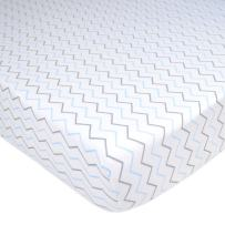 American Baby Company Printed 100% Cotton Jersey Knit Fitted Crib Sheet for Standard Crib and Toddler Mattresses, Blue Zigzag, for Boys and Girls