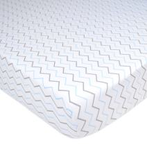 American Baby Company Printed 100% Natural Cotton Jersey Knit Fitted Portable/Mini-Crib Sheet, Blue Zigzag, Soft Breathable, for Boys and Girls, Pack of 1
