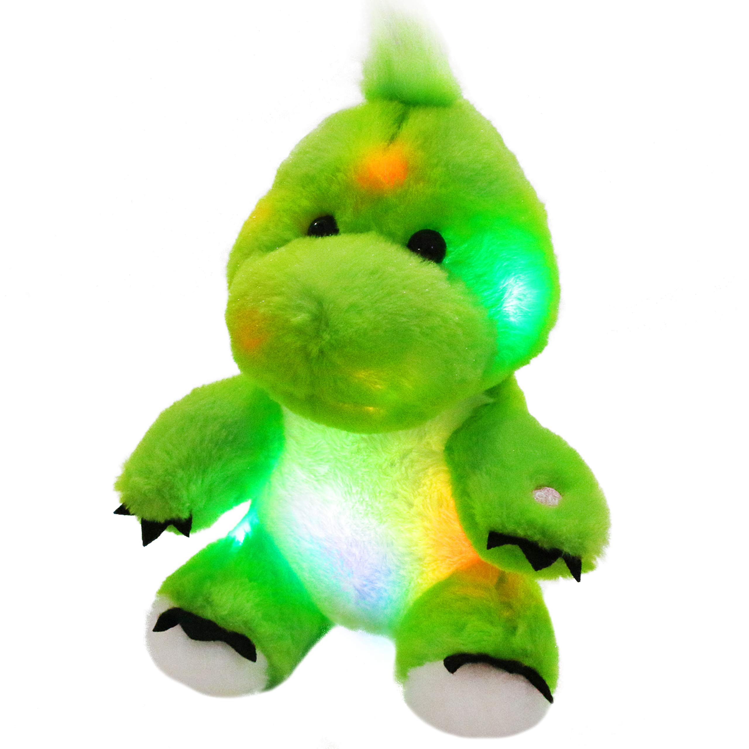 Bstaofy LED Dinosaur Stuffed Animal Glow Green T-Rex Light Up Plush Toy Soft Adorable Gift for Kids Toddlers on Birthday Christmas, 11 Inches