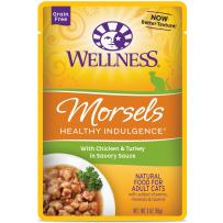Wellness Healthy Indulgence Natural Grain Free Wet Cat Food Pouches Morsels Chicken & Turkey