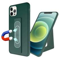 ESTPEAK Compatible with iPhone 12 and iPhone 12 pro Magnetic Case,[Magnetic Foldable Kickstand Dual Layer][Vertical&Horizontal Stand Hand Strap][Support Magnetic Car Mount],Heavy Duty Shockproof Case