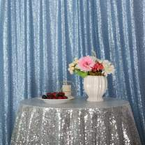Eternal Beauty Baby Blue Sequin Wedding Backdrop Photography Background Party Curtain, 4Ft X 7Ft