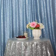 Eternal Beauty Baby Blue Sequin Wedding Backdrop Photography Background Party Curtain, 4Ft X 6Ft