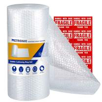 "Metronic 16"" Bubble Roll- Perforated 16""×12"",1 Rolls 36 Ft Air Bubble Cushioning Roll, Included 10 Fragile Sticker Labels for Packing Moving Shipping Boxes Supplies"