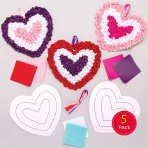 Baker Ross AT365 Heart Tissue Kits — Creative Valentine's Day Art and Craft Supplies for Kids to Make and Decorate (5 Pack)
