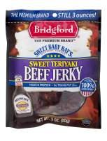 Bridgford Sweet Baby Ray's Sweet Teriyaki Beef Jerky, 3 Oz, Pack of 4
