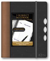 iScholar iQ Pro 3 Subject Premium Poly Cover Notebook with Moveable Dividers and IQ Notes Layout, 9.5 x 6.5 Inches, Assorted Neutral Colors (56103)
