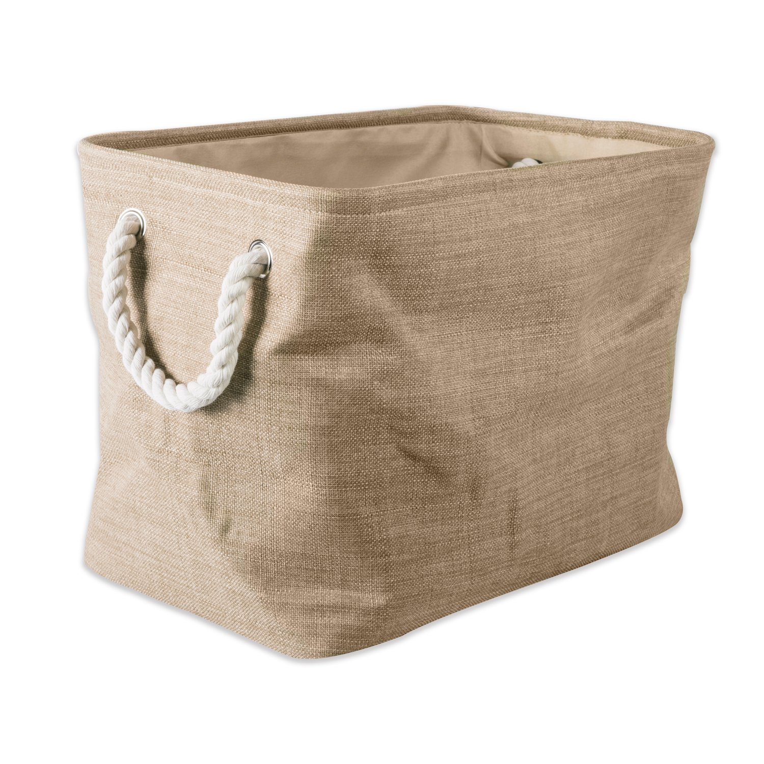 DII 5568 Collapsible Variegated Polyester Storage Bin, Medium, Taupe