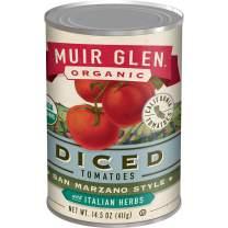 Muir Glen, Organic San Marzano Style Diced Tomatoes With Italian Herbs, 12 Cans, 14.5 oz