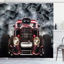 """Lunarable Classic Car Shower Curtain, Cool Vintage Vehicle with Smokes Background Speed Excitement Themes, Cloth Fabric Bathroom Decor Set with Hooks, 75"""" Long, Grey Black"""