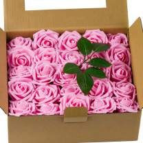 Loveinside Artificial Flowers Rose Pink 50pcs Real Looking Fake Roses for DIY Wedding Bouquets Centerpieces Corsage Baby Shower Party Home Decorations