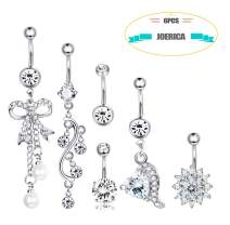 JOERICA 6 Pcs Girls Womens Belly Button Rings Dangle Surgical Steel Navel Rings Screw Bars Body Jewelry Piercing