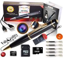 Gadgets Spy Camera Pen Bundle 1080p HD Spy Pen 16GB SD Micro Card + USB Card Reader + 5 Ink Fills + Updated Battery - Record Executive Multifunction DVR Hidden Pen