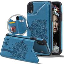 Vodico iPhone XR Wallet Case for Women with Card Holder, Cute Folio Flip Slim Vintage Embossed Butterfly Flower Leather Girly Wallet Purse Magnetic Closure Full Body Protective Stand Cover (Blue)