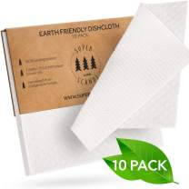 SUPERSCANDI 10 Pack White Swedish Dishcloths Eco Friendly Reusable Sustainable Biodegradable Cellulose Sponge Cleaning Cloths for Kitchen Dish Rags Washing Wipes Paper Towel Replacement Washcloths