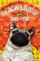 """Trends International Doug the Pug-Pizza Wall Poster, 22.375"""" x 34"""", Multicolor"""