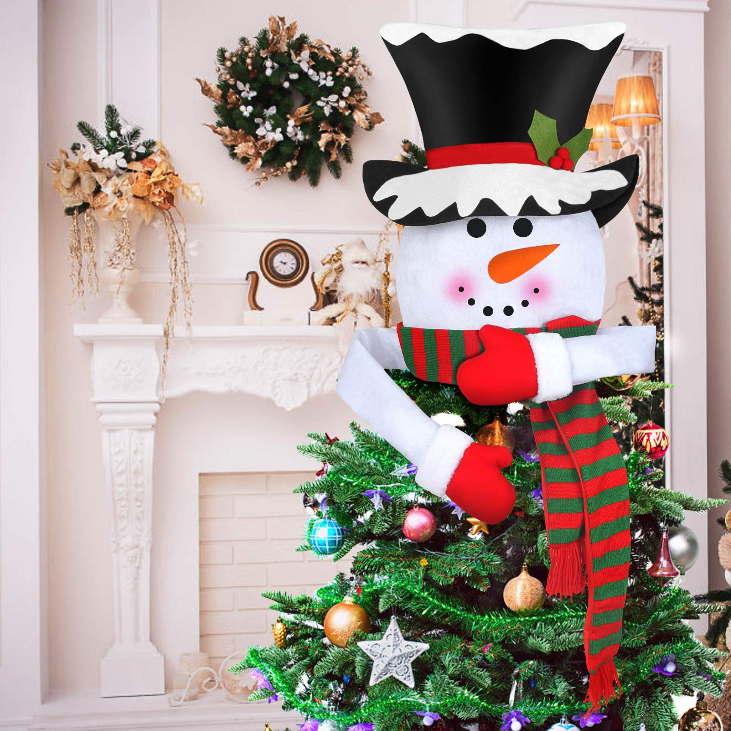 STYDDI Christmas Tree Topper Snowman Top Hat Scarf Mittens Hugger for Xmas Holiday Winter Party Home Decorations Ornaments