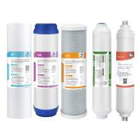 6 Stage Reverse Osmosis Replacement Filter Set, Membrane Solutions Alkaline Mineral Reverse Osmosis Water Filter System(NOT Include RO Membrane)