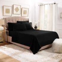 6 Piece Cal King Sheets - Bed Sheets Cal King Size – Bed Sheet Set Cal King Size - 6 PC Sheets - Deep Pocket Cal King Sheets Microfiber Cal King Bedding Sets Hypoallergenic Sheets - Cal King - Black