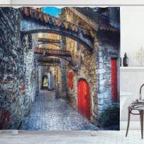 """Ambesonne Medieval Shower Curtain, Old Stone Street with Stone Passage Estonia Medieval Town Heritage Photo Art, Cloth Fabric Bathroom Decor Set with Hooks, 70"""" Long, Vermilion Blue"""
