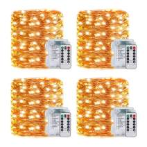 Ivolador 4 Pack 33Ft 100 Led Fairy Lights Battery Operated Mini String Lights with 8 Modes Remote Control and Timer(Warm White)