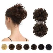 100% Human Hair Bun,BARSDAR 2 PCS Messy Bun Hair Piece With Elastic Rubber Band Curly Natural Ponytail Extension Hairpiece for Women/Kids Tousled Updo Chignons(2PCS, Brown)