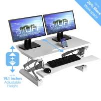 """Seville Classics airLIFT Height Adjustable Stand Up Desk Converter/Riser - Keyboard Tray, Dual Monitors, Quick Lift Levers Ergonomic Table, Full (36""""), White"""