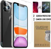 Screen Protector and Camera Lens Cover for iPhone 11 (6.1 inch) I Pack of 4-2 Camera Lens Protector 2 Screen Tempered Glass Lens with Installation Kit, High Definition Anti-Scratch & Fingerprint