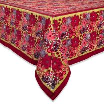 Couleur Nature 90-inches by 90-inches Candy Flower Tablecloth, Red/Green