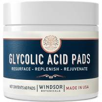 Glycolic Acid Facial Resurfacing Pads - 20% AHA Solution Gently Exfoliates Dead Skin Cells Revealing Younger, Rejuvenated Skin - By Windsor Botanicals - 60 Pre-Soaked Exfoliating Wipes